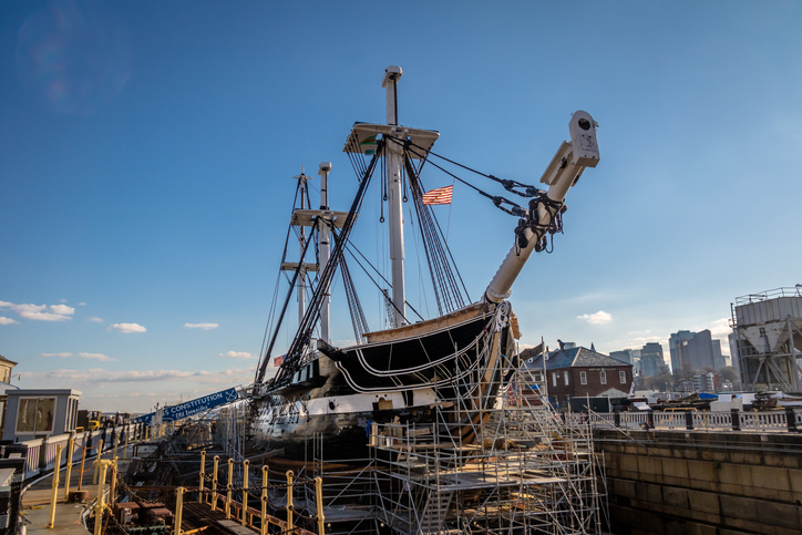 The USS Constitution, launched in 1797, is a popular attraction for visitors to Boston